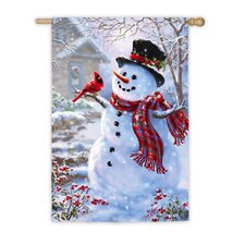 Snowman and Feathered Friend Vertical Flag