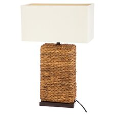 "Alice Rattan 13.5"" H Table Lamp with Rectangular Shade"