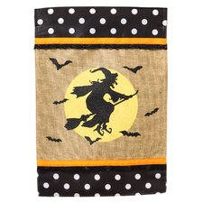 Witch on the Broom Garden Flag