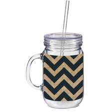 20 oz. Burlap Chevron Double Walled Mason Jar Insulated Cup with Straw