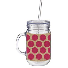 20 oz. Burlap Polka Dot Double Walled Mason Jar Insulated Cup with Straw