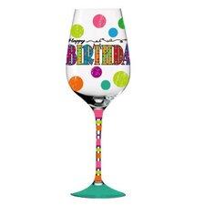 Happy Birthday Hand Painted Wine Glass