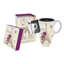 17 oz. French Lilacs Ceramic Latte Travel Cup with Gift Box