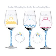 Something Old Something New Hand Decorated Wine Glass