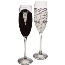 2 Piece Handpainted Bride and Groom Champagne Set (Set of 2)