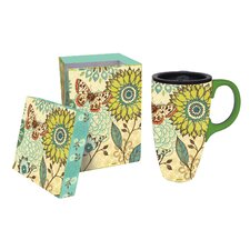 17 oz. Nature's Garden Ceramic Latte Travel Cup with Gift Box