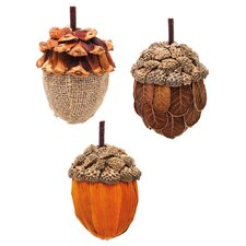 3 Piece Festive Acorn Natural Fiber Ornament Set (Set of 3)