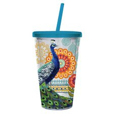 Proud Peacocks 17 oz. Insulated Cup with Straw