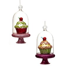 Sweet Cloche and Cupcake Polystone Ornament (Set of 2)