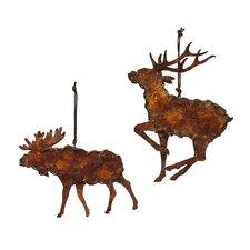 2 Piece Rusty Metal Moose Ornament Set