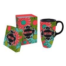 Chalk Garden 17 oz. Mom Ceramic Title Latter Travel Cup