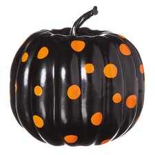 Polyfoam Pumpkin with Polka Dot Pattern in Black