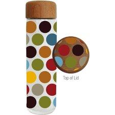 20 oz. Festive Polka Dot Glass Water Bottle with Wood Lid