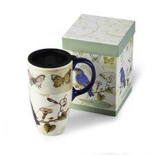 Bird and Butterflies Latte Travel Cup