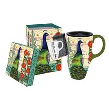 Proud Peacocks 17 oz. Boxed Ceramic Latte Travel Cup