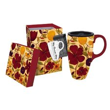 17 oz. Floral Spice Boxed Ceramic Latte Travel Cup