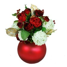 Mixed Rose and Snowball Centerpiece Ball Vase