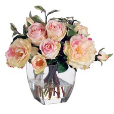 Pink & Cream Rose Buds in Square Nouveau Glass Vase