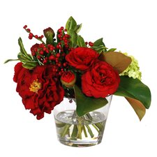 Camelia and Holly Bouquet in Glass Vase