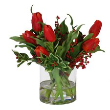 Tulips and Holly in Glass Cylinder