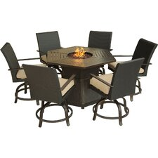 Aspen Creek 7 Piece Fire Pit Dining Set with Cushions