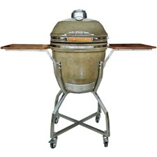 """19"""" Kamado Charcoal Grill with Stainless Steel Cart and Accessories Package"""