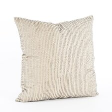 Silver Beaded Cotton Throw Pillow