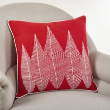 Stitched Leaf Cotton Throw Pillow