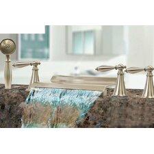 Triple Handle Deck Mount Waterfall Tub Filler with Handshower