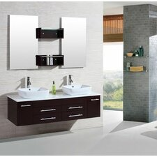 "60"" Double Floating Bathroom Vanity Set with Mirror"