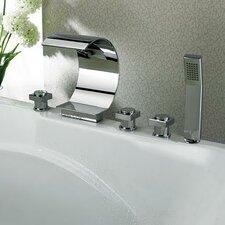 Triple Handles Deck Mount Faucet with Curve Spout & Hand Shower
