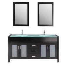 """63"""" Double Bathroom Vanity Set with Mirror"""