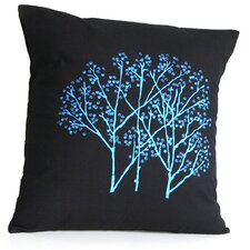 Forest Frost on Charcoal Cotton Throw Pillow