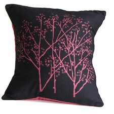 Forest Blush on Charcoal Cotton Throw Pillow