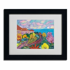 """""""Winding Path by Ocean"""" by Manor Shadian Matted Framed Painting Print"""