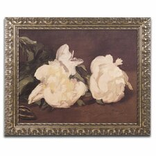 'Branch of Peonies' by Edouard Manet Framed Painting Print in White