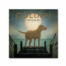 Moonrise Yellow Dog Golden Pond by Ryan Fowler Graphic Art on Wrapped Canvas