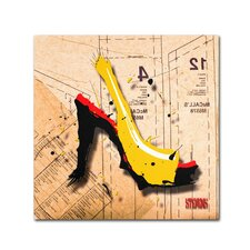 """""""Suede Heel Yellow"""" by Roderick Stevens Graphic Art on Wrapped Canvas"""