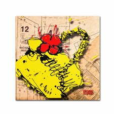 """""""Flower Purse Red on Yellow"""" by Roderick Stevens Graphic Art on Wrapped Canvas"""