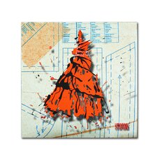 """Shoulder Dress Orange and Black"" by Roderick Stevens Graphic Art on Wrapped Canvas"