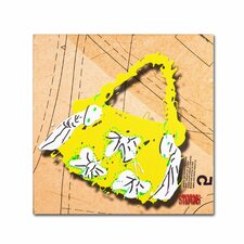 """""""Bow Purse White on Yellow"""" by Roderick Stevens Graphic Art on Wrapped Canvas"""