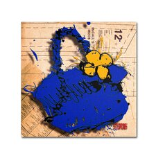 """""""Flower Purse Yellow on Blue"""" by Roderick Stevens Graphic Art on Wrapped Canvas"""