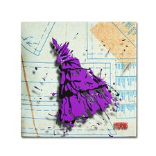 """Shoulder Dress Purple and Black"" by Roderick Stevens Graphic Art on Wrapped Canvas"