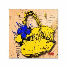 """""""Flower Purse Blue on Yellow"""" by Roderick Stevens Graphic Art on Wrapped Canvas"""