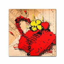 """""""Flower Purse Yellow on Red"""" by Roderick Stevens Graphic Art on Wrapped Canvas"""