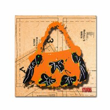 """""""Bow Purse Black on Orange"""" by Roderick Stevens Graphic Art on Wrapped Canvas"""