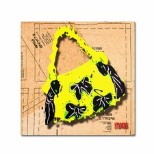 """""""Bow Purse Black on Yellow"""" by Roderick Stevens Graphic Art on Wrapped Canvas"""