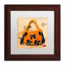 'Bow Purse Black on Orange' by Roderick Stevens Framed Graphic Art