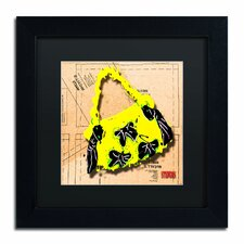 Bow Purse Black on Yellow by Roderick Stevens Framed Graphic Art