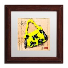 'Bow Purse Black on Yellow' by Roderick Stevens Framed Graphic Art